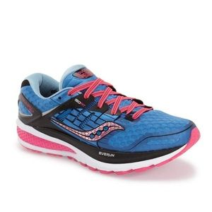 Saucony Triumph ISO 2 Running Blue and Pink Shoe